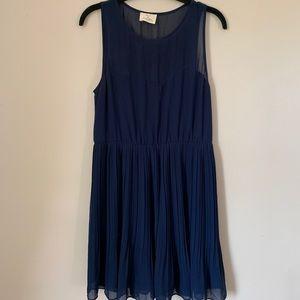 PINS & NEEDLES (UO) medium blue pleated dress